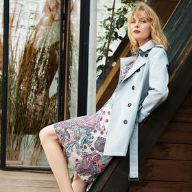 PIEDEMO 2020新春款中长款风衣 英伦风百搭休闲修身显瘦系带风衣双排扣外套女
