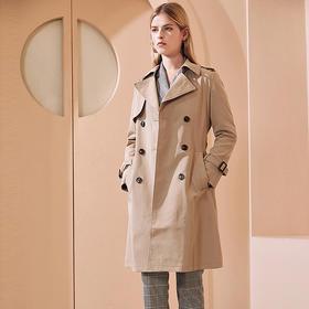 PIEDEMO 2020新春款长款风衣 英伦风百搭休闲修身显瘦系带风衣双排扣外套女