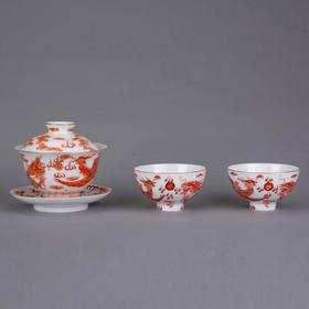 矾红龙凤茶器套组
