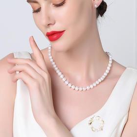 【奢华 送礼好物】PORITA铂俪塔  3A四面光珍珠项链 珍珠耳钉  珍珠花环胸针 套装礼盒