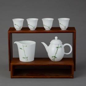 手绘青竹茶具