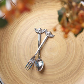 日本高桑金属elfin 天使叉勺 银色餐具