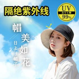 【大s同款防晒帽】99%阻隔紫外线,超大帽檐,防晒更全面。双面可戴,时尚百搭!