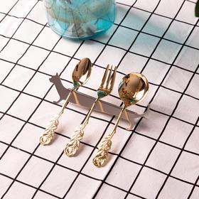 日本高桑金属elfin 玫瑰奶油叉勺 金色餐具