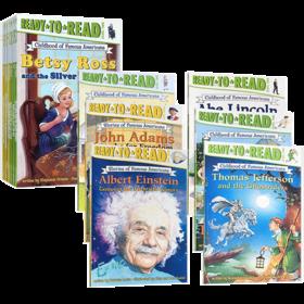 准备阅读系列美国著M名人物的童年 英文原版绘本 Childhood of Famous Americans 12册盒装分级读物童书 Ready to Read lever 2