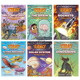Science Comics 科学漫画系列6册套装 英文原版 恐龙 飞行器 火箭 太阳系 天气 大脑 青少年读物 进口原版英语故事书 全英文版
