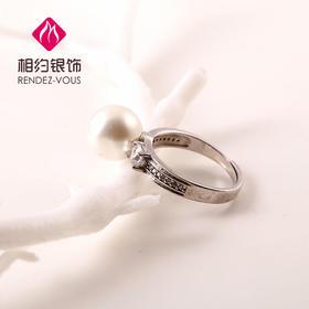 相约银饰S925银戒指贝珠戒指