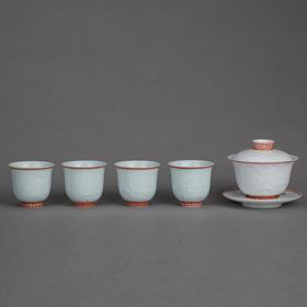 堆雕油红山水茶具