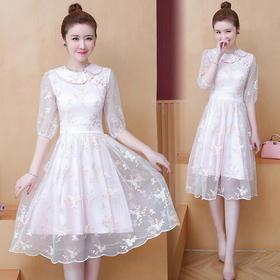 AHM-cyx8093新款复古网纱刺绣连衣裙TZF
