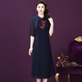 WXY-YN-20076新款中国风刺绣真丝连衣裙TZF