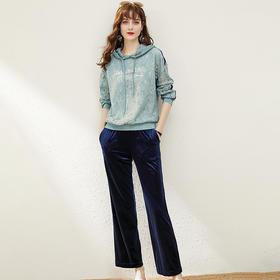 WLZD1941309新款法式蕾丝休闲阔腿裤两件套TZF