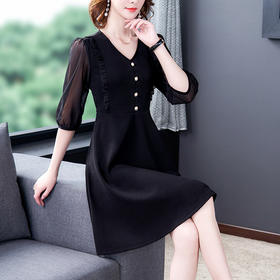 AHM-zyl9559新款时尚气质显瘦雪纺连衣裙TZF