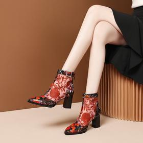 OLD-N189-F2629新款性感镂空高跟绣花凉靴TZF