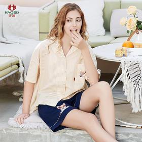 好波20春夏夏季薄款全棉梭织条纹女士中袖短裤套装HJ2014