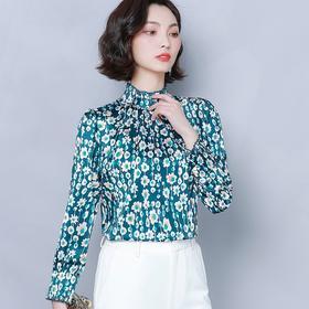 KQL-B41N6706新款时尚气质印花雪纺衫TZF