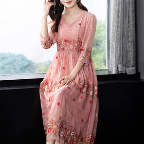 SMHC-SM20212-2新款民族风绣花V领七分袖连衣裙TZF