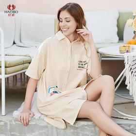 好波20春夏夏季薄款全棉梭织条纹女士衬衫裙HJ2015可外穿当防晒服