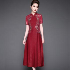 SL-Q5256新款时尚立体花烫钻连衣裙TZF
