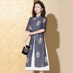 XZY-QF-191223新款时尚印花拼接旗袍裙TZF