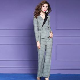 FMY29154新款英伦修身格子西装连体裤TZF
