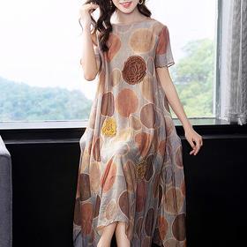 SMHC-SM20252新款中国风真丝印花连衣裙TZF