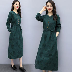 HT-N-B15-5880新款气质休闲印花连衣裙TZF