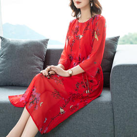YHSS-4b16-812649新款中国风印花连衣裙TZF