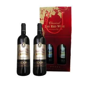 法国路易皇廷干红葡萄酒礼盒  750ml*2 内含路易皇廷子爵干红葡萄酒750 ml一支 路易皇廷伯爵干红葡萄酒750 ml一支