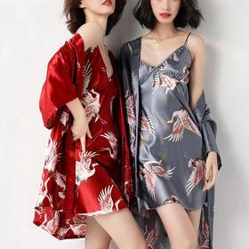 WITH SECERT中国风仙鹤睡衣两件套