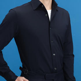 夏装一片领针织T恤面料长袖休闲纯色衬衫