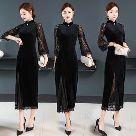 GN-HA9078新款蕾丝复古金丝绒旗袍TZF