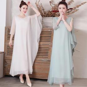 GN827新款复古中式雪纺连衣裙TZF