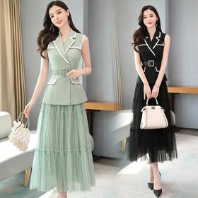 XP-TJN2060新款时尚优雅网纱半身裙两件套TZF