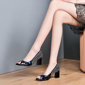 OLD620新款高跟真皮拼接百搭鱼嘴鞋TZF