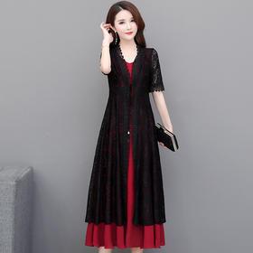 韩版修身两件套,七分袖蕾丝外套背心裙YW-XYKL-6620