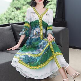 AHM-fls0801新款时尚洋气印花连衣裙TZF