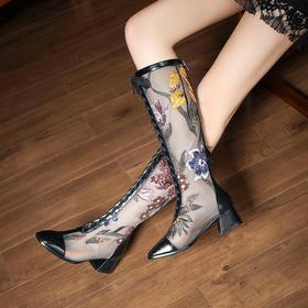 XYSM3067-4B新款蕾丝绣花方头粗跟绑带凉靴TZF
