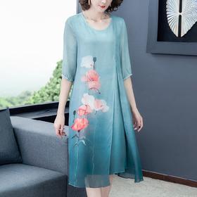 AHM-yme5231新款中国民族风印花圆领裙TZF