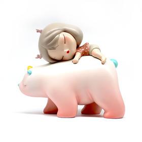 潮玩手办《白夜童话-暖熊·绮梦-Lite-樱花粉》贾晓鸥 7×4×8cm