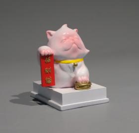 雕塑摆件《招财猫》钱方舟3×5×5.5cm