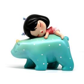 潮玩手办《白夜童话-暖熊·绮梦-Lite-河川蓝》贾晓鸥 7×4×8cm