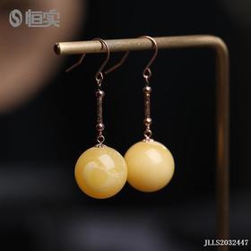 18k金镶蜜蜡耳环耳饰