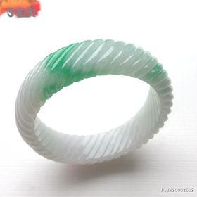 53.7mm糯种飘绿雕花翡翠手镯