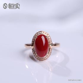 18K金镶钻阿卡红珊瑚戒指