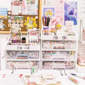 大容量抽屉式多层收纳盒学生透明北欧风桌面置物架少女可爱储物柜