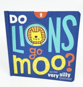 【696积分】抽拉式问题书/纸板书《Do Lions Go Moo?》适合宝宝英语启蒙