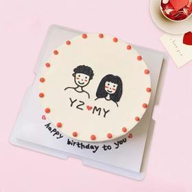 手绘情侣蛋糕