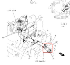 液压泵 连接油箱 1号直胶管 SK75-8(工厂订货运费到付)