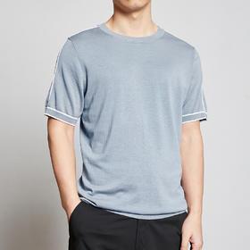墨麦客男装夏季薄圆领桑蚕丝短袖T恤男士半袖冰丝针织衫体恤7737