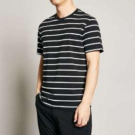 墨麦客男装夏季新款圆领黑白条纹T恤男短袖休闲运动宽松体恤7363